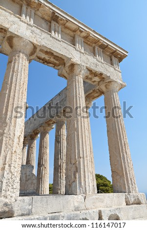 Classical ancient temple of Aphaea Athina at Aegina island in Greece. The Temple of Aphaia or Afea is located within a sanctuary complex dedicated to the  goddess Aphaia on the Greek island of Aigina.