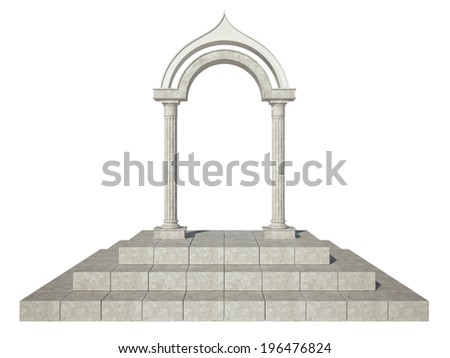 Classical arch and two columns of unusual shape - stock photo