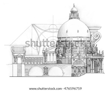 Classical architectural renaissance drawing