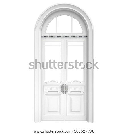 Classical architecture style interior object: white wooden door isolated on white - stock photo