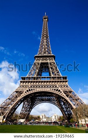 Classical beautiful view of The Eiffel Tower in Paris on a sunny day - stock photo