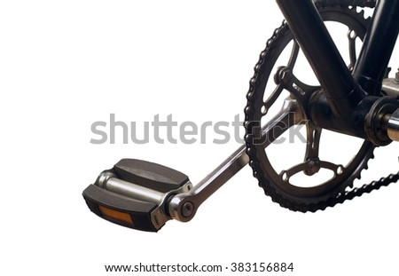 Classical bicycle chrome pedal isolated on white background - stock photo