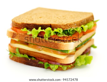 Classical BLT Club Sandwich isolated on white background - stock photo