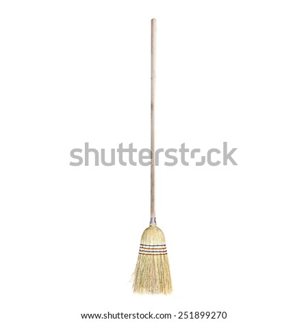 classical broom isolated on white - stock photo