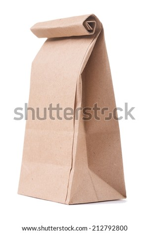 classical brown paper bag isolated on white background - stock photo