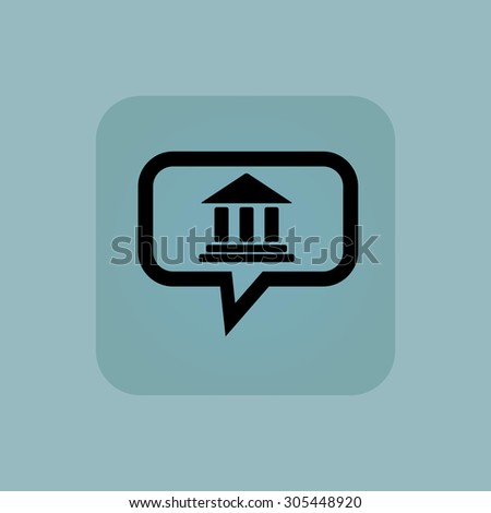 Classical building with pillars in chat bubble, in square, on pale blue background - stock photo