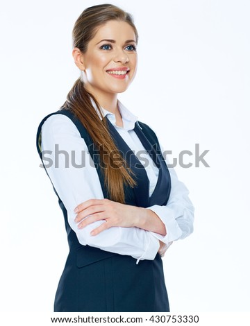 Classical business portrait of business woman in business suit. Isolated. - stock photo