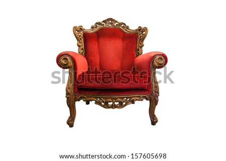 classical carved wooden chair isolated on white with clipping path - stock photo