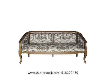 Classical carved wooden sofa isolate on white with clipping path