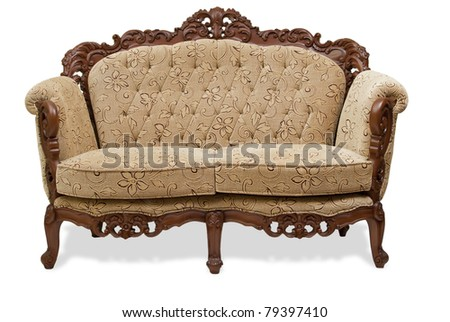 classical carved wooden  sofa upholstered in leather