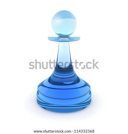 Classical chess pawn made of blue glass. 3d render illustration isolated on white background - stock photo