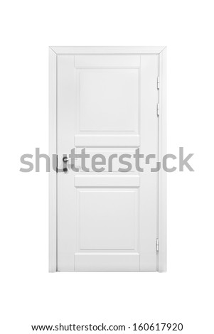 Classical closed wooden door isolated on white background - stock photo