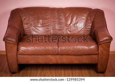 Classical design and luxury style of the leather sofa - stock photo