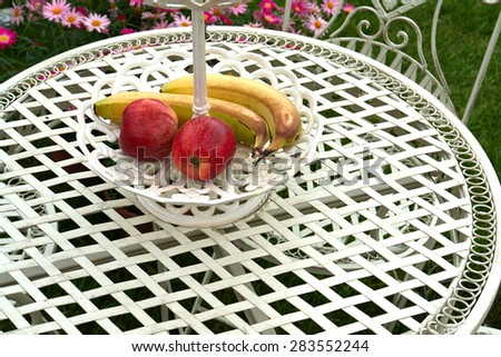 Classical design garden furniture painted in white - stock photo