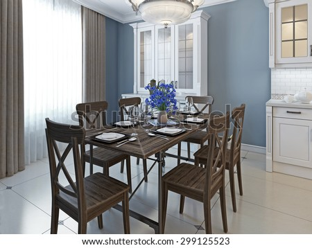 Classical Design Of Dining Room Contrast White Glossy Marble Floor And Furniture Vs Dark