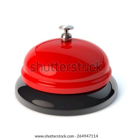 Classical desktop bell, reception bell, game show buzzer style, 3d rendering - stock photo