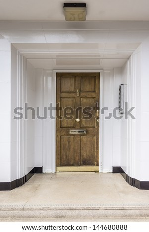 Classical Door on traditional London house, UK - stock photo