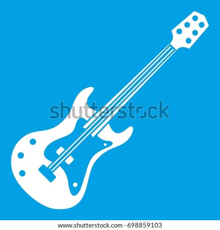 Classical Electric Guitar Icon White Isolated On Blue Background Illustration