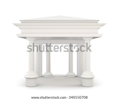 Classical entrance with columns isolated on white background. 3d illustration. - stock photo