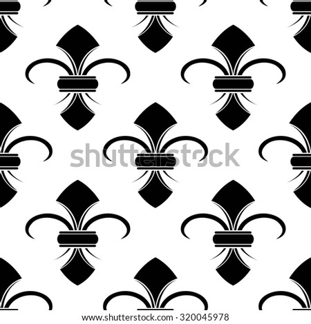 Classical French black and white fleur-de-lis seamless background pattern with a repeat motif in square format suitable for wallpaper or fabric design - stock photo