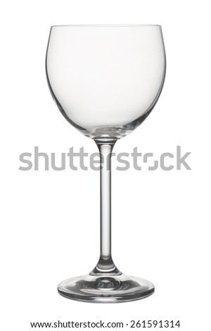 classical glass for red wine empty, on white background - stock photo