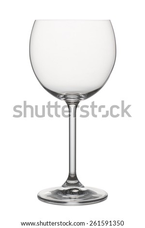 classical glass for white wine empty, on white background - stock photo