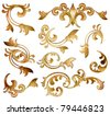 classical golden decor elements isolated - stock photo