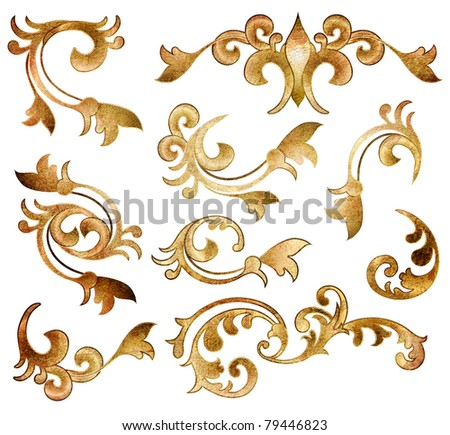 classical golden decor elements isolated