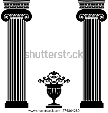 Classical greek or roman columns and vase isolated on white background - stock photo