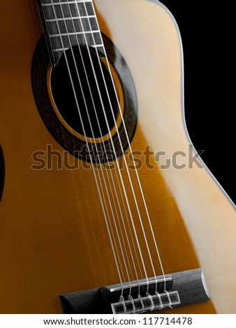 Classical guitar closeup, for music, entertainment themes - stock photo