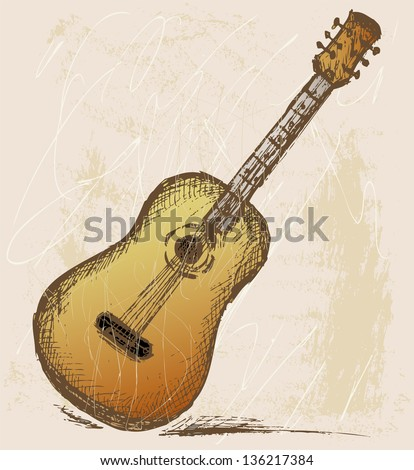 Classical guitar. Grunge style. Raster version - stock photo