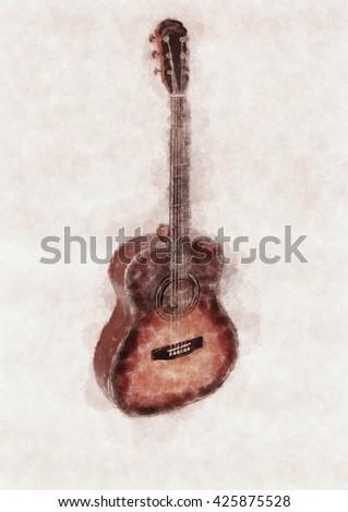 Classical guitar.Guitar drawing. - stock photo