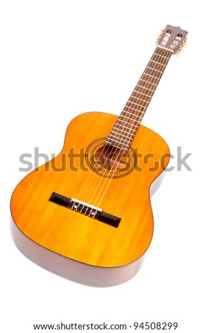 Classical guitar on white background - stock photo