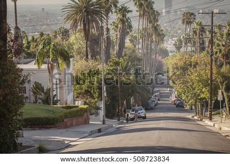Classical Hollywood street view with palms and hills.