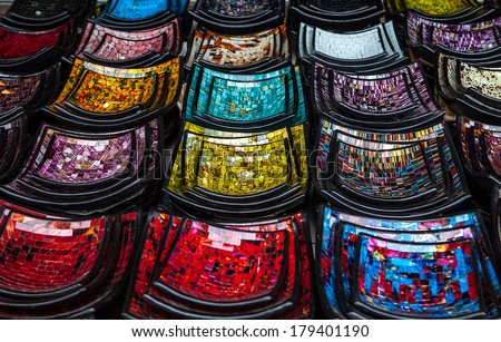 Classical Indonesia  ceramics on the market - stock photo