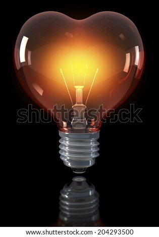 Classical light bulb, heart shaped, glowing yellow red, 3d rendering on a dark background, over reflecting surface
