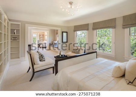 Classical luxurious beige / white bedroom interior in mansion.  - stock photo
