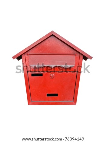 Classical mail box of Thai post on white background - stock photo