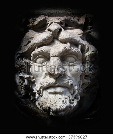 Classical marble white Zeus Face isolated on black background - stock photo