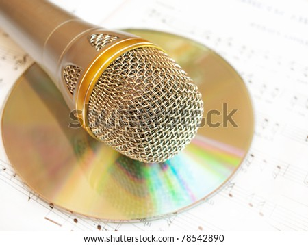 classical microphone and cd - stock photo