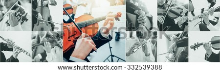 Classical music collage of pictures, professional musicians playing instruments portraits and hands close up, arts and entertainment concept - stock photo