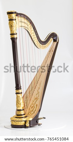 Classical music instrument. Pedal harp