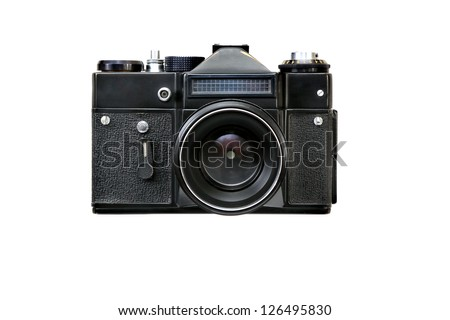 classical old camera 35 mm , black.  white background. - stock photo