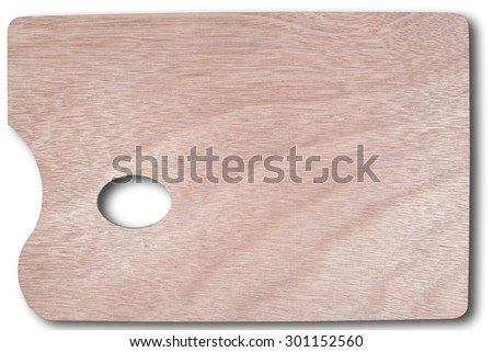Classical or modern art concept. Artist wooden palette for oil color isolated over white background Clipping path included - stock photo