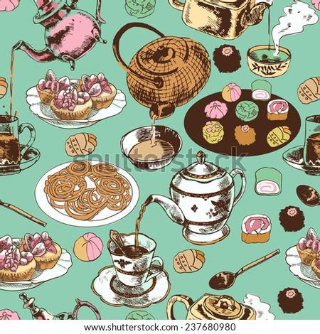 Classical oriental indian tea time ritual ceramic pot teacup saucer cupcakes wrap paper seamless pattern  illustration - stock photo