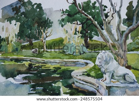 Classical park with pond and lion sculpture in Beshiktash district, Istanbul, original watercolor art - stock photo