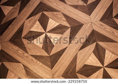 Classical pattern of old brown oak wood parquet