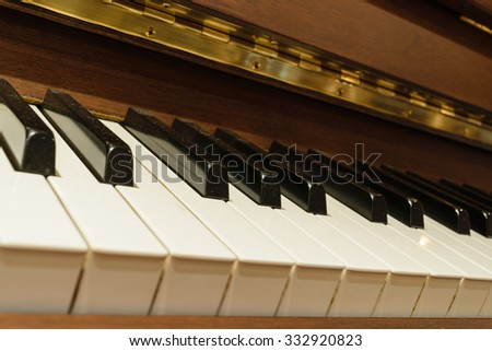 Classical piano keys in warm color tone