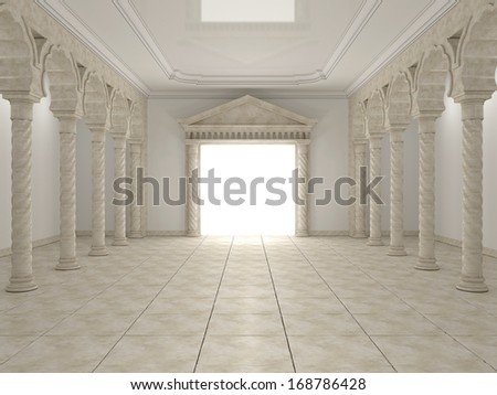 Classical portal in the hall with columns and arches - stock photo