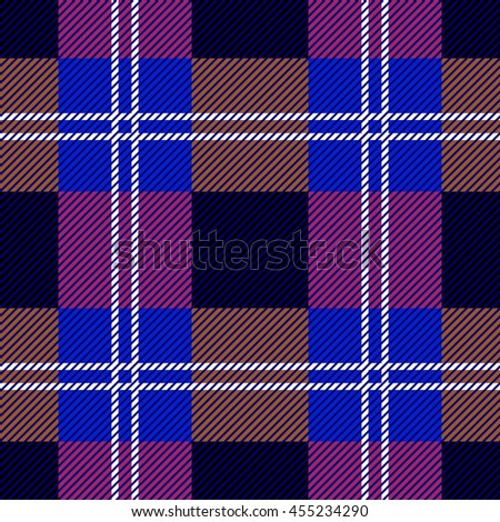 Classical Scottish checkered plaid. Seamless pattern with diagonal hatching. Retro folk textile collection. - stock photo